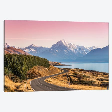 The Road To Mt. Cook, New Zealand Canvas Print #TEO654} by Matteo Colombo Canvas Artwork