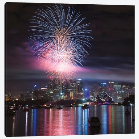 New Year's Eve Fireworks Over Sydney Harbor, Sydney, New South Wales, Australia Canvas Print #TEO65} by Matteo Colombo Canvas Art Print