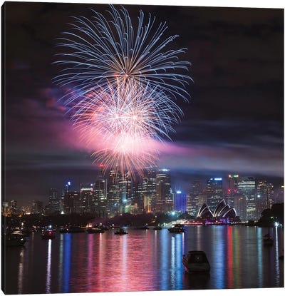 New Year's Eve Fireworks Over Sydney Harbor, Sydney, New South Wales, Australia Canvas Art Print