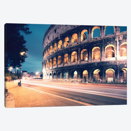Night At The Colosseum, Rome, Lazio, Italy Canvas Print #TEO66} by Matteo Colombo Canvas Art Print