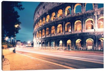 Night At The Colosseum, Rome, Lazio, Italy Canvas Print #TEO66