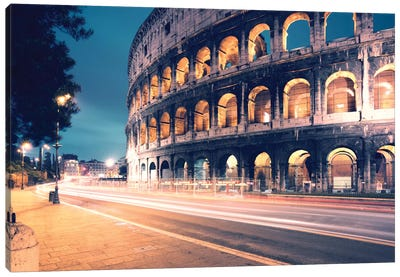 Night At The Colosseum, Rome, Lazio, Italy Canvas Art Print