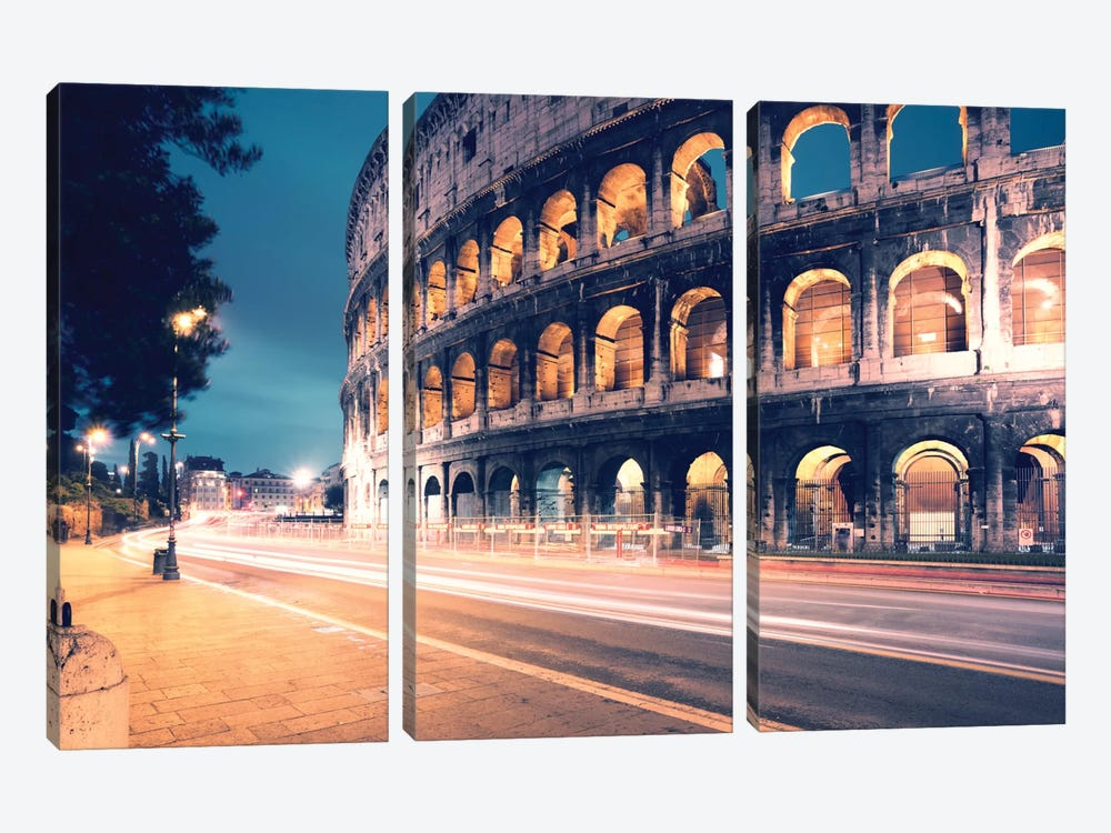 Night At The Colosseum, Rome, Lazio, Italy by Matteo Colombo 3-piece Canvas Art