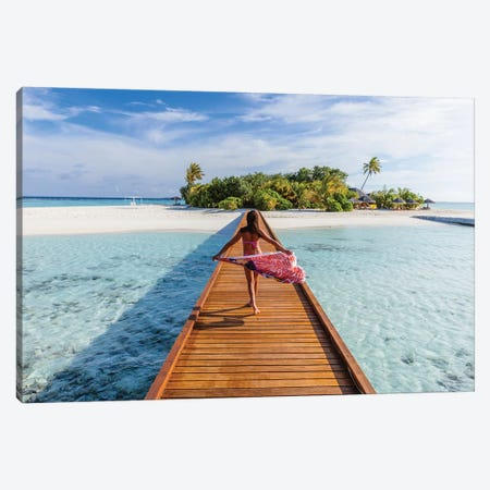 Woman Walking On Pier, Maldives Canvas Print #TEO671} by Matteo Colombo Canvas Art Print