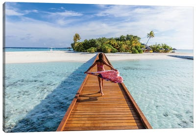 Woman Walking On Pier, Maldives Canvas Art Print