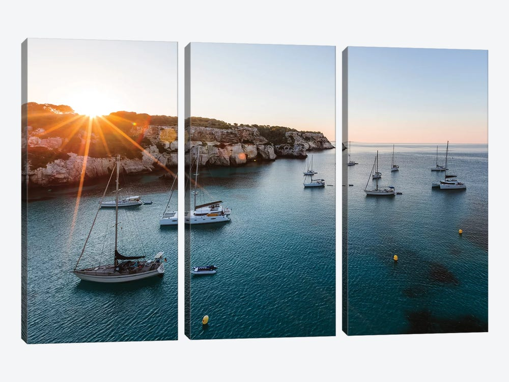 Yachts In The Mediterranean Sea by Matteo Colombo 3-piece Canvas Print