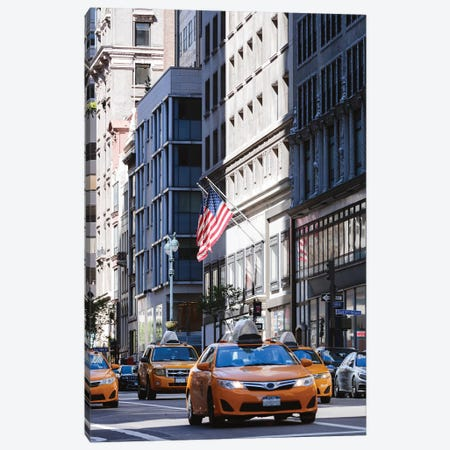 Yellow Cabs On Fifth Avenue Canvas Print #TEO673} by Matteo Colombo Canvas Print