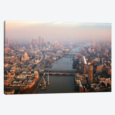 Sunset Over River Thames Canvas Print #TEO687} by Matteo Colombo Art Print