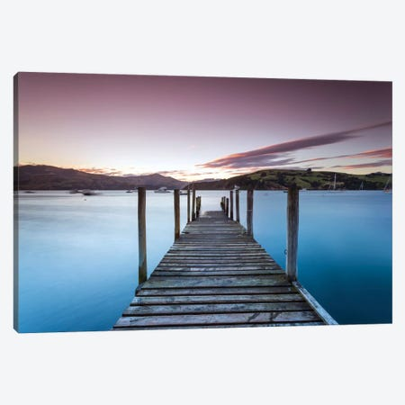 Pier At Sunset I, Akaroa Harbour, Akaroa, Banks Peninsula, Canterbury, South Island, New Zealand Canvas Print #TEO69} by Matteo Colombo Canvas Artwork