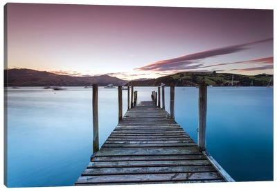 Pier At Sunset I, Akaroa Harbour, Akaroa, Banks Peninsula, Canterbury, South Island, New Zealand Canvas Art Print