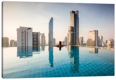 Infinity Pool And Bangkok Skyline Canvas Art Print