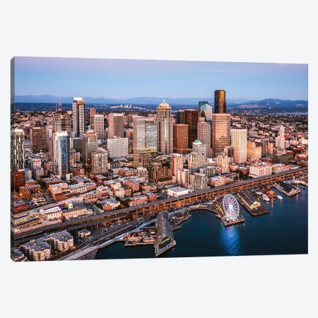 Seattle Downtown At Dusk Canvas Print #TEO708} by Matteo Colombo Art Print