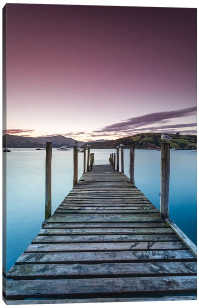 Pier At Sunset II, Akaroa Harbour, Akaroa, Banks Peninsula, Canterbury, South Island, New Zealand Canvas Art Print