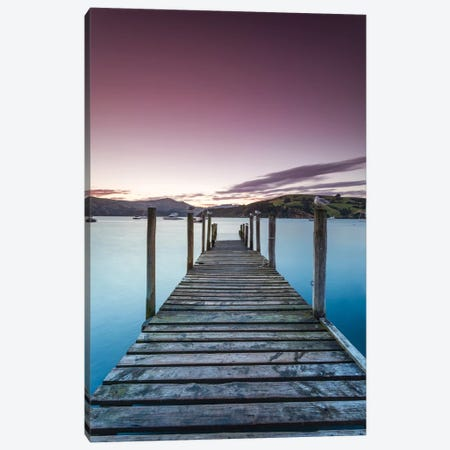 Pier At Sunset II, Akaroa Harbour, Akaroa, Banks Peninsula, Canterbury, South Island, New Zealand Canvas Print #TEO70} by Matteo Colombo Canvas Art Print
