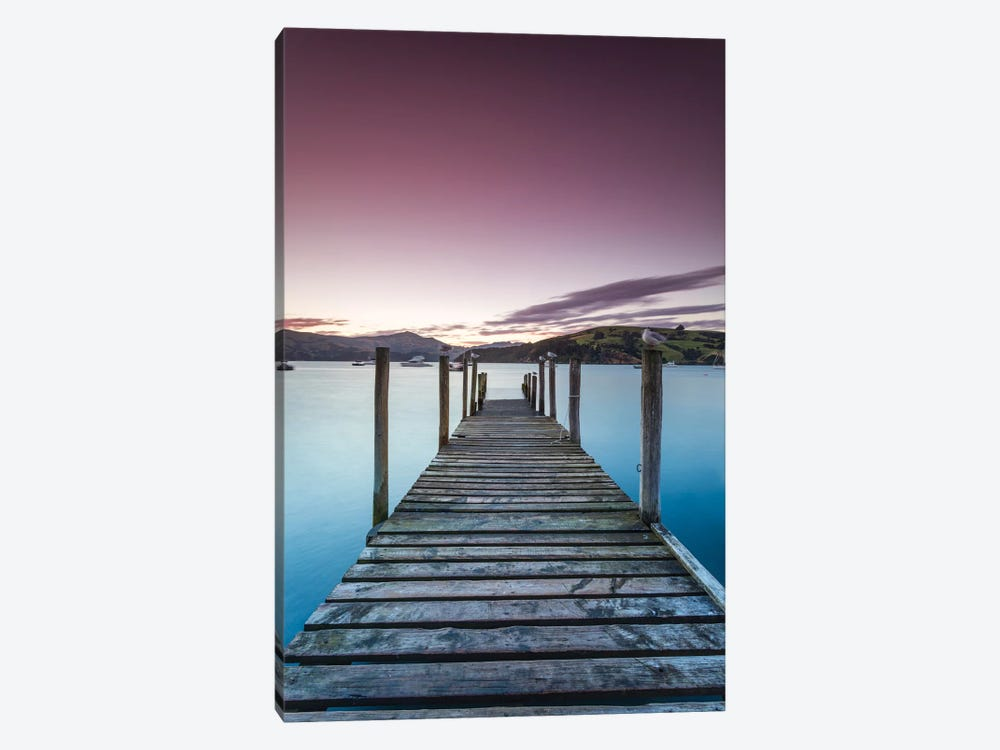 Pier At Sunset II, Akaroa Harbour, Akaroa, Banks Peninsula, Canterbury, South Island, New Zealand by Matteo Colombo 1-piece Art Print