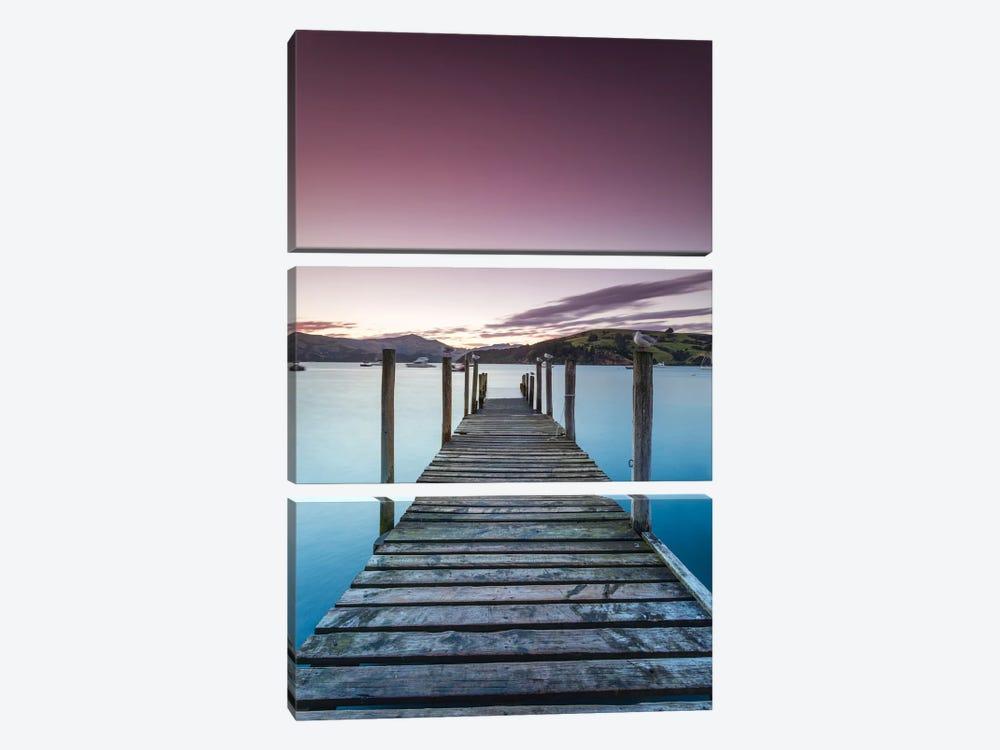 Pier At Sunset II, Akaroa Harbour, Akaroa, Banks Peninsula, Canterbury, South Island, New Zealand by Matteo Colombo 3-piece Canvas Print