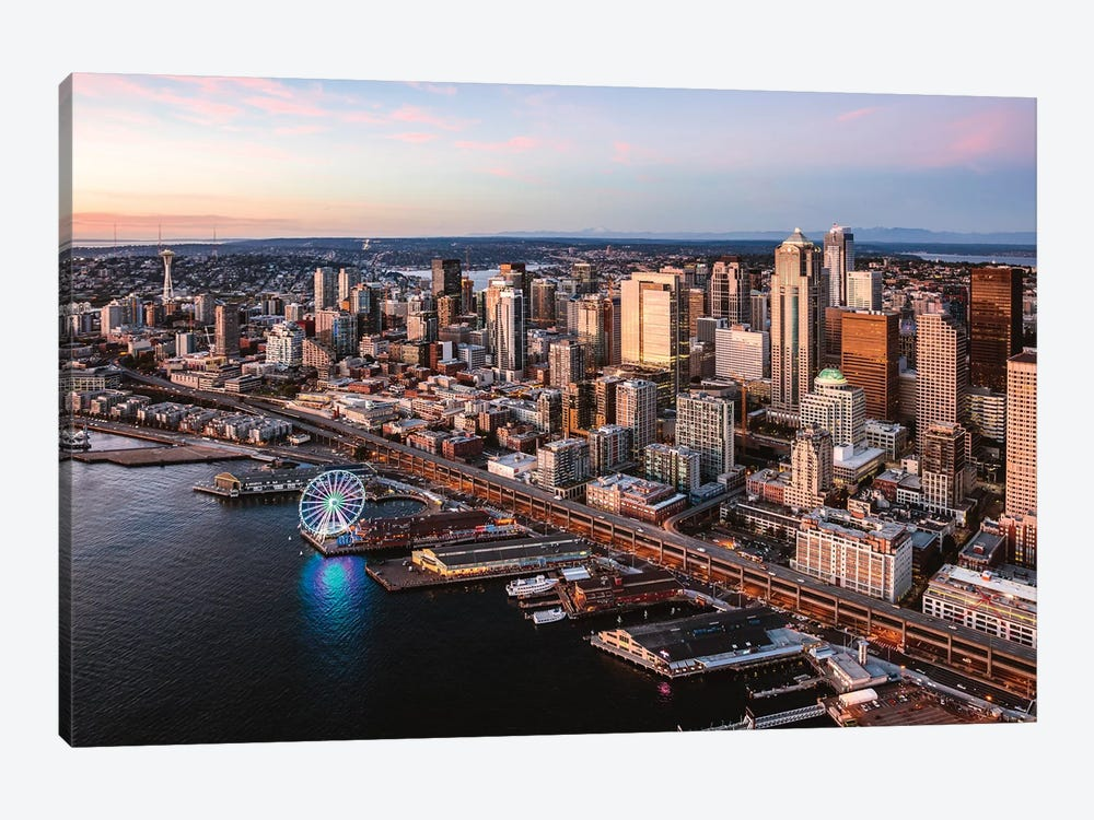 Seattle Downtown At Sunset 1-piece Canvas Artwork