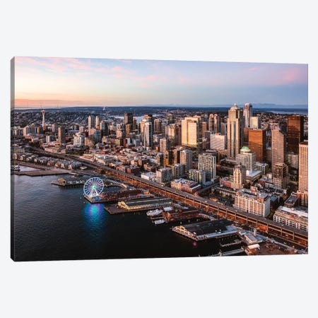 Seattle Downtown At Sunset Canvas Print #TEO712} by Matteo Colombo Canvas Art
