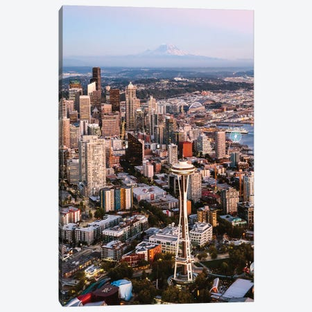 Mt Rainier And The Space Needle 3-Piece Canvas #TEO713} by Matteo Colombo Canvas Wall Art