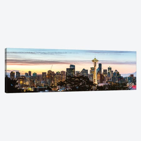 Seattle Skyline Panoramic 3-Piece Canvas #TEO714} by Matteo Colombo Canvas Art Print