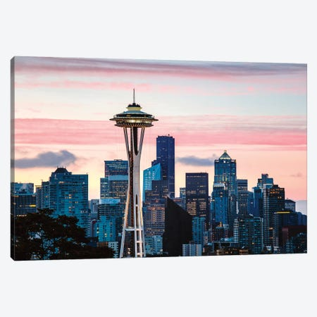 The Space Needle And Seattle Skyline Canvas Print #TEO715} by Matteo Colombo Canvas Art Print