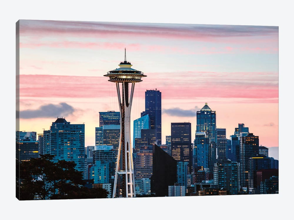 The Space Needle And Seattle Skyline by Matteo Colombo 1-piece Canvas Print