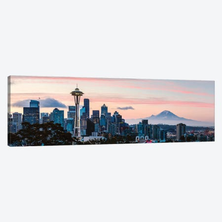 Seattle Skyline And Mt Rainier 3-Piece Canvas #TEO716} by Matteo Colombo Canvas Print