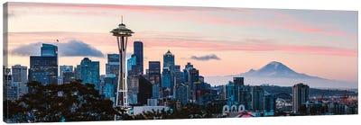 Seattle Skyline And Mt Rainier Canvas Art Print