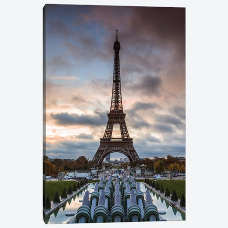 Eiffel Tower At Sunrise Canvas Print #TEO718} by Matteo Colombo Canvas Wall Art