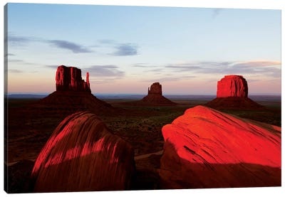 Red Sunset, Monument Valley, Navajo Nation, Arizona, USA Canvas Art Print