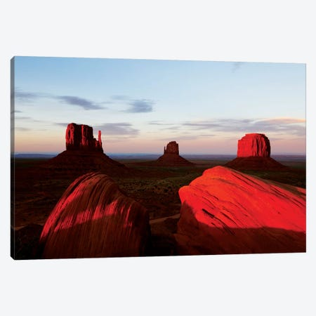 Red Sunset, Monument Valley, Navajo Nation, Arizona, USA 3-Piece Canvas #TEO71} by Matteo Colombo Canvas Art Print