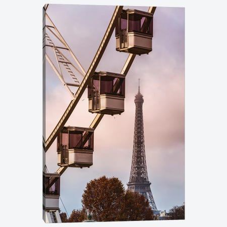 Ferris Wheel And Eiffel Tower, Paris Canvas Print #TEO728} by Matteo Colombo Canvas Art Print