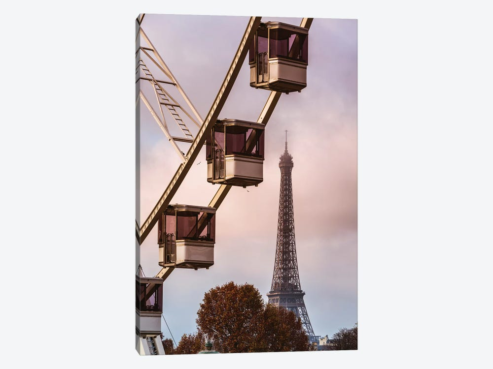 Ferris Wheel And Eiffel Tower, Paris 1-piece Art Print
