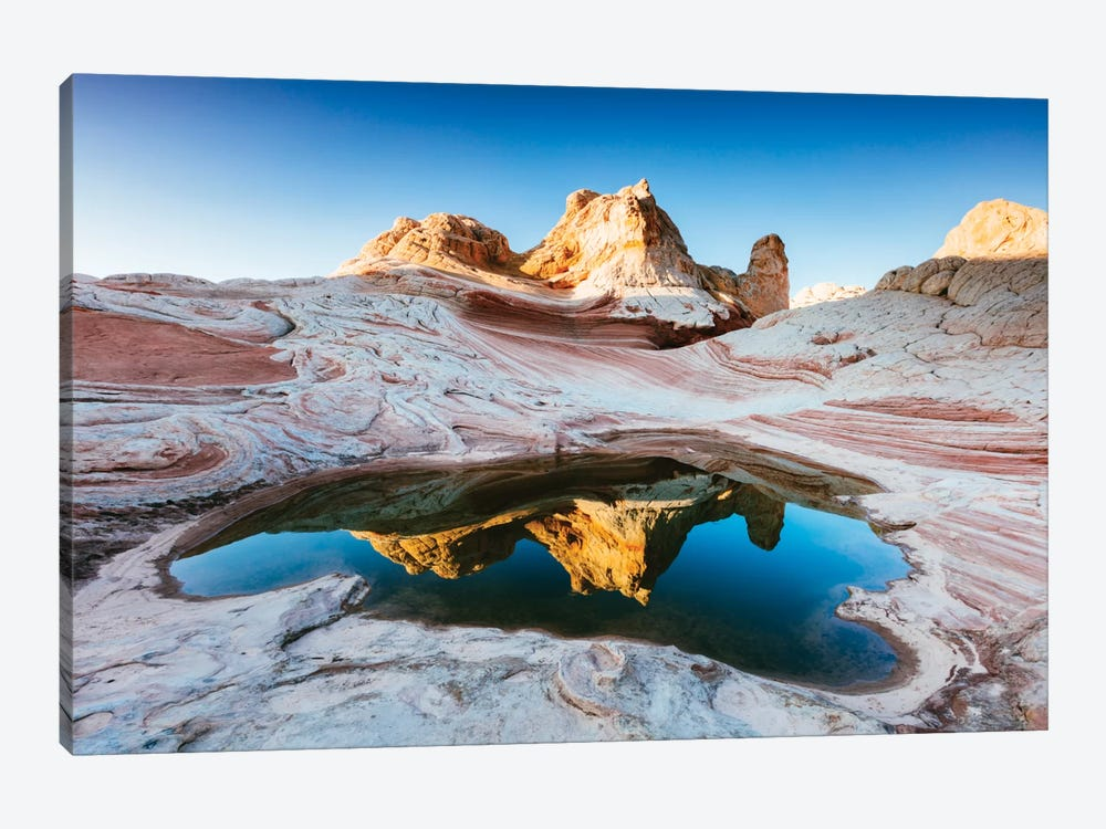 Reflection Pool, White Pocket, Vermilion Cliffs National Monument, Arizona, USA by Matteo Colombo 1-piece Canvas Art Print