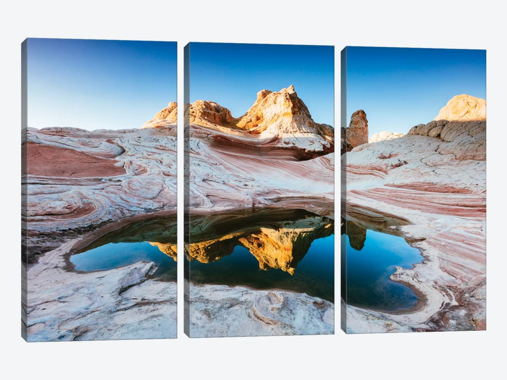 Reflection Pool, White Pocket, Vermilion Cliffs National Monument, Arizona, USA by Matteo Colombo 3-piece Art Print
