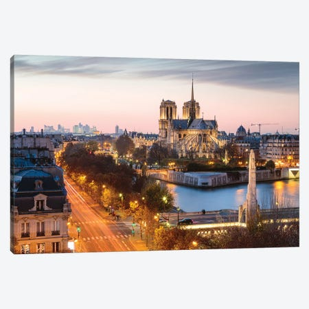 Notre Dame And Paris At Dusk Canvas Print #TEO731} by Matteo Colombo Canvas Wall Art
