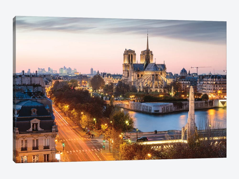 Notre Dame And Paris At Dusk 1-piece Canvas Print