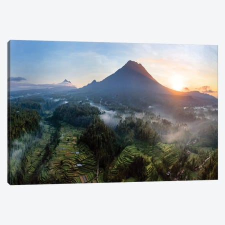 Volcano And Rice Fields, Bali III Canvas Print #TEO753} by Matteo Colombo Canvas Art