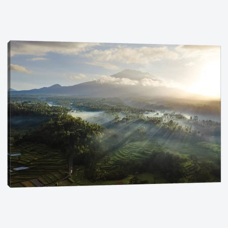 Volcano And Rice Fields, Bali IV Canvas Print #TEO754} by Matteo Colombo Canvas Art Print