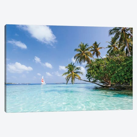 Sail Boat On Tropical Sea, Republic Of Maldives Canvas Print #TEO75} by Matteo Colombo Canvas Artwork