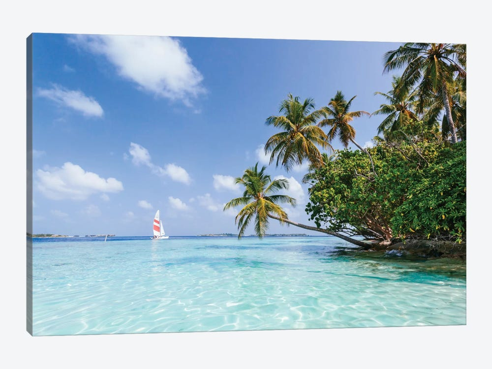 Sail Boat On Tropical Sea, Republic Of Maldives by Matteo Colombo 1-piece Canvas Artwork