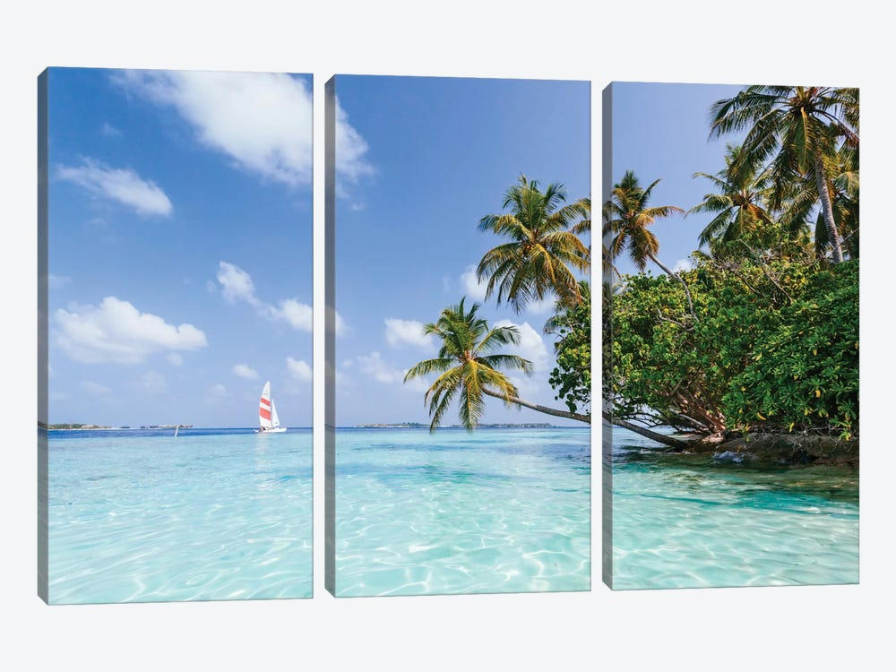 Sail Boat On Tropical Sea, Republic Of Maldives by Matteo Colombo 3-piece Canvas Art