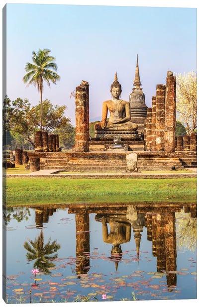 Seated Buddha, Wat Mahathat, Sukhothai Historical Park, Kingdom Of Thailand Canvas Print #TEO76