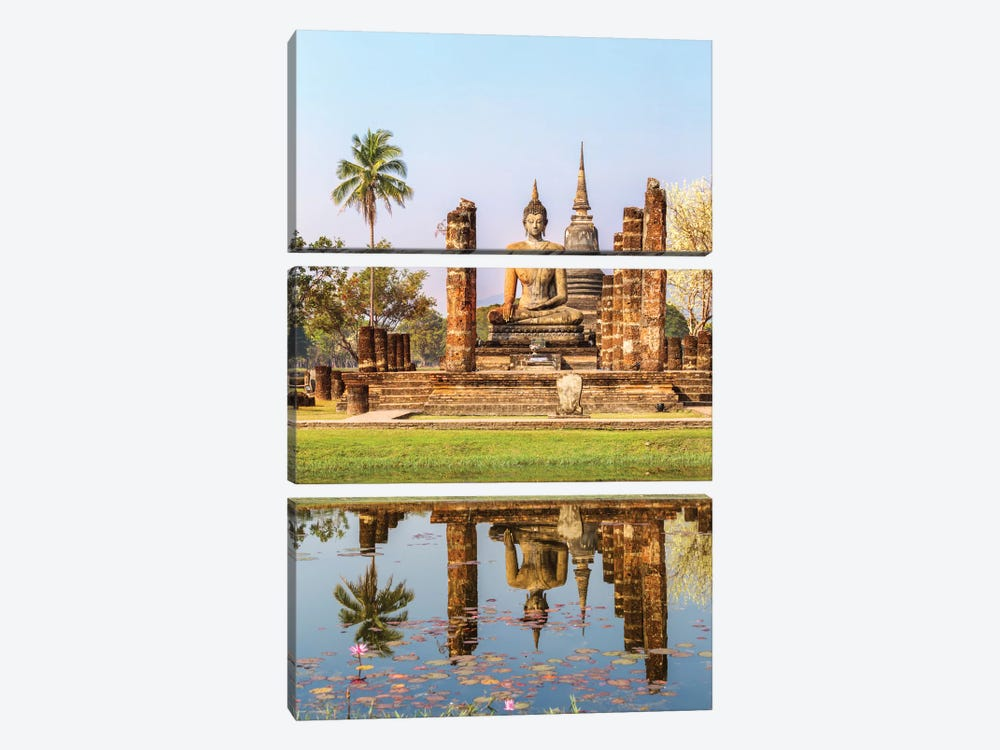 Seated Buddha, Wat Mahathat, Sukhothai Historical Park, Kingdom Of Thailand by Matteo Colombo 3-piece Art Print