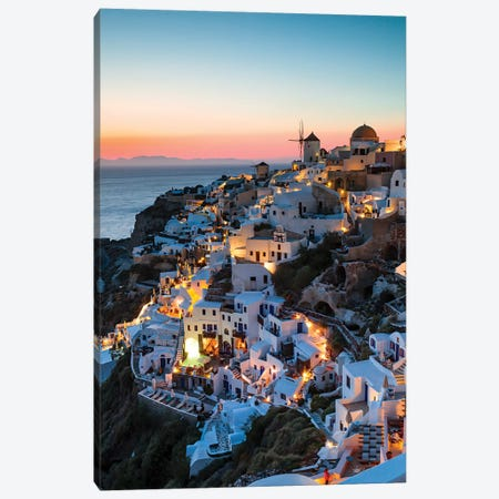 Santorini Evening Canvas Print #TEO770} by Matteo Colombo Canvas Art