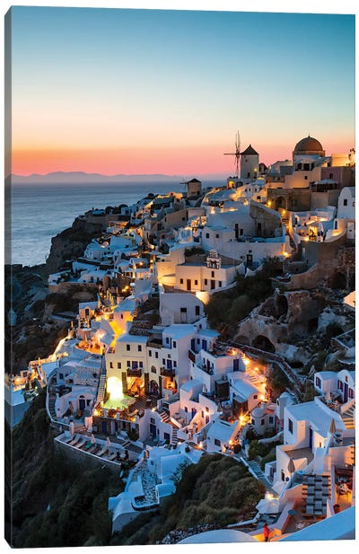 Santorini Evening Canvas Art Print