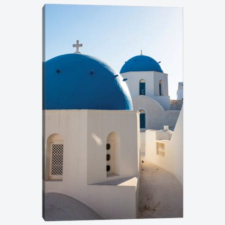 Blue Domed Churches in Santorini, Greece Canvas Print #TEO772} by Matteo Colombo Canvas Wall Art