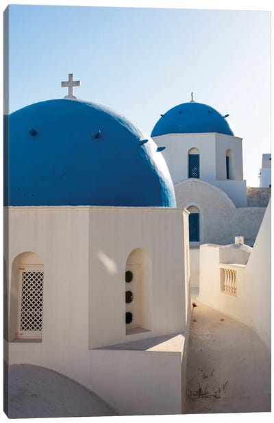 Blue Domed Churches in Santorini, Greece Canvas Art Print
