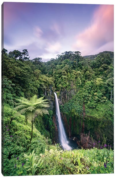 Waterfall At Sunset, Costa Rica Canvas Art Print