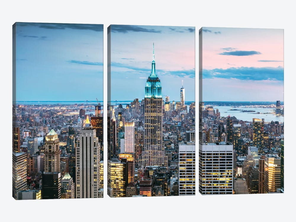 Skyline At Dusk I, Midtown, New York City, New York, USA by Matteo Colombo 3-piece Canvas Artwork